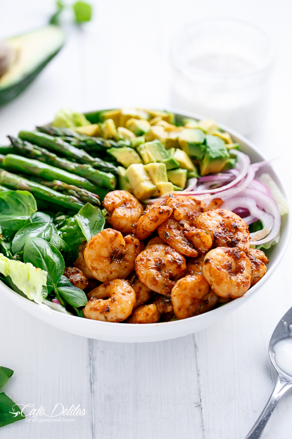 Blackened Shrimp, Asparagus & Avocado Salad w/ Lemon Pepper Yogurt Dressing