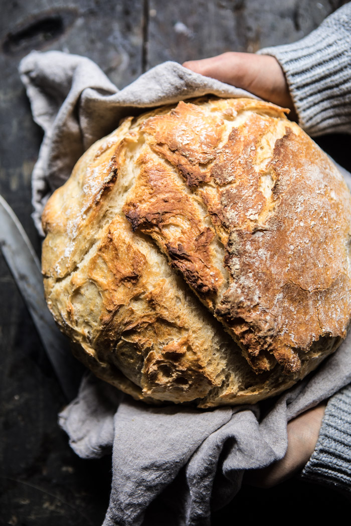 Cheaters No Knead Dutch Oven Sourdough Bread
