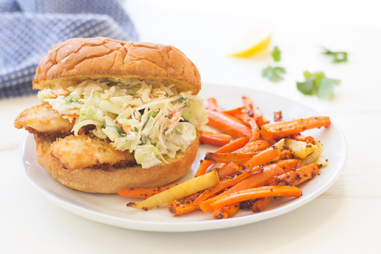 Crispy fish sandwiches with creamy coleslaw bigoven for Fish sandwich recipe