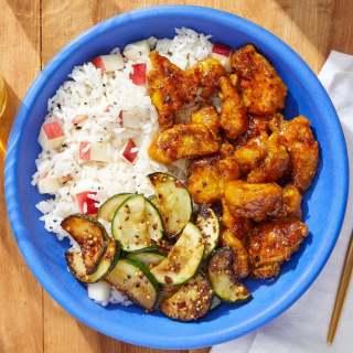 Crispy Curry Chicken with Sautéed Zucchini & Nectarine Rice