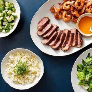 Hibachi-Style Steak & Shrimp with Bok Choy, Snow Peas & Marinated C