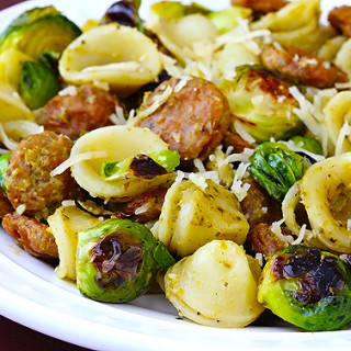 Pesto Pasta with Chicken Sausage and Roasted Brussels Sprouts