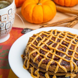 Pumpkin Cinnamon Roll Pancakes with Caramel Cream Cheese Frosting