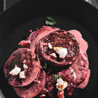 Roasted Beet and Feta Gratin with Fresh Mint