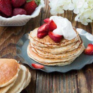 Skinny Strawberry Shortcake Gluten Free Pancakes