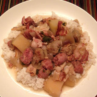 Slow Cooker Sausage, Bacon & Potato Stew