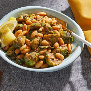 Smoky White Beans and Brussels Sprouts