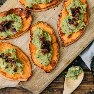 Sweet Potato Guacamole Crostini