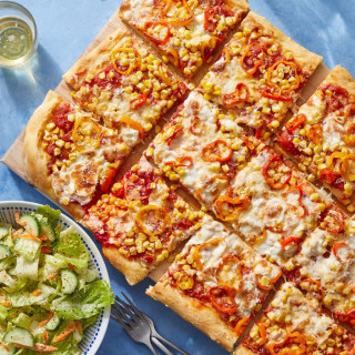 Zucchini Pizza with Fresh Mozzarella & Pecorino Cheese