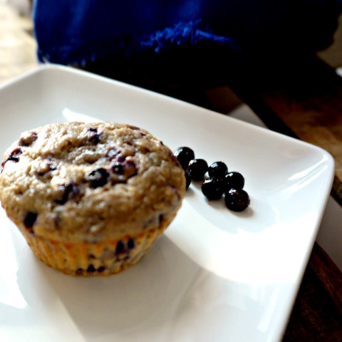 100% Whole Wheat and Naturally Sweetened Blueberry Muffins