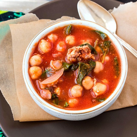30-Minute Italian Sausage Soup with Chickpeas and Spinach