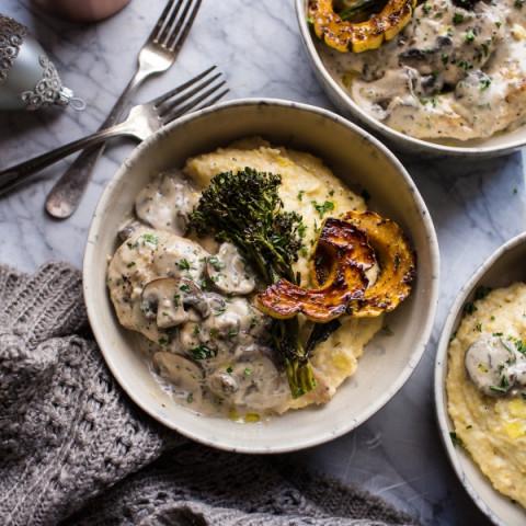 45-Minute Truffled Mushroom Chicken with Polenta + Roasted Broccolini.