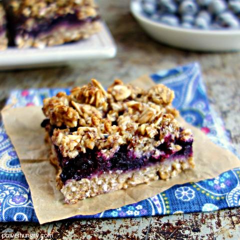5 ingredient Blueberry Oat Breakfast Bars {vegan, sugar-free, oil-free, glu