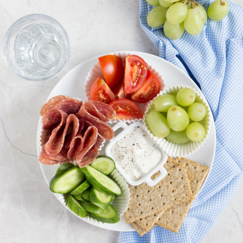 Adult Lunchable with Veggies, Salami, and Cream Cheese