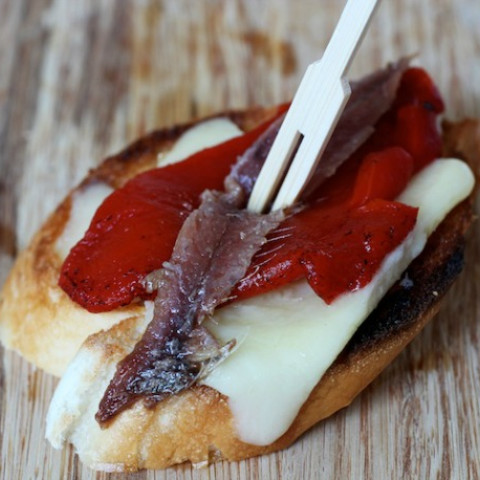 Anchovy, Red Pepper, and Manchego Pintxos Recipe