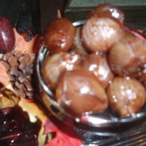 ANISETTE AND PORT PEAL GLAZED ONIONS