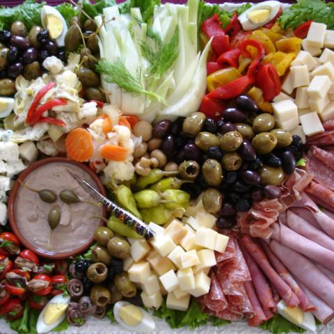 Antipasto tray with Tuna Mousse: Spuma di Tonno
