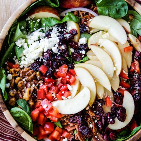 Apple Cranberry Bacon Candied Walnut Salad with Apple Poppy Seed Vinaigrett