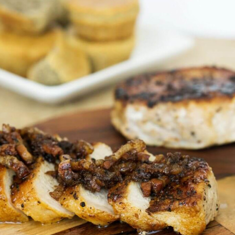 Apple Pork Chops | Bacon and Apple Cider Vinegar Sauce!