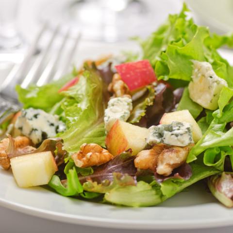Apple, Walnut, and Mixed Greens Salad with Zinfandel-cranberry Vinaigrette