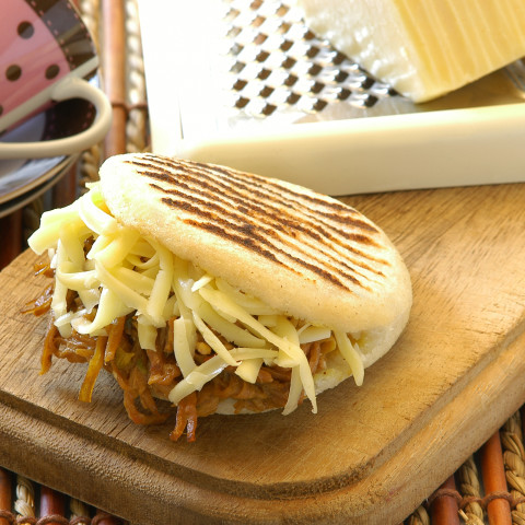 Arepa Filled with Shredded Beef & Yellow Cheese