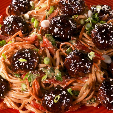 Asian Glazed Meatballs With Peanut Noodles