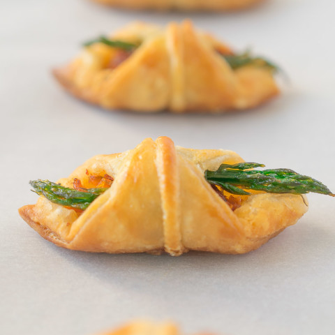 Asparagus, sun-dried tomato puff pastry bites