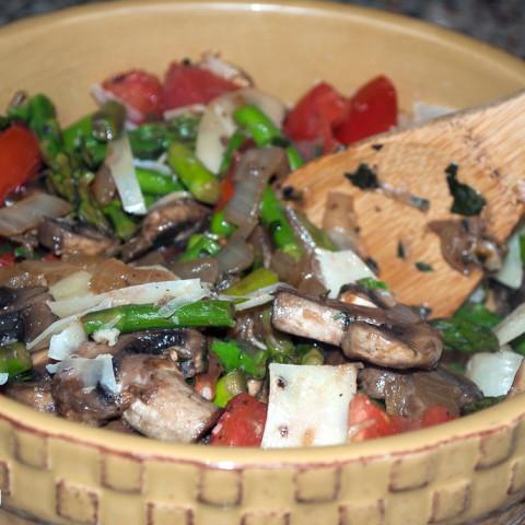 Asparagus, Mushroom and Tomato sauté with Fresh Basil and Parmesan Cheese