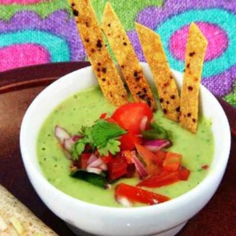 Avocado Cream Soup With Lime-Chili Tortilla Strips