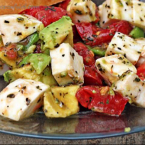 Avocado, tomato, mozzarella salad