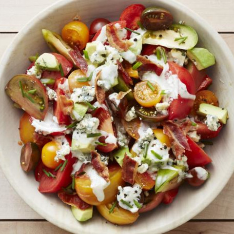 Avocado-Tomato Salad with Bacon and Blue Cheese