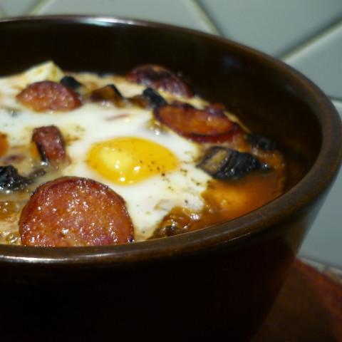 Keto Chorizo Baked eggs