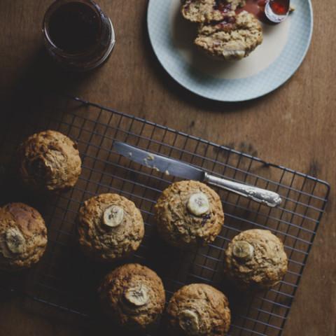 Banana Spelt Muffins w/ Coconut Cream & Strawberry Jam