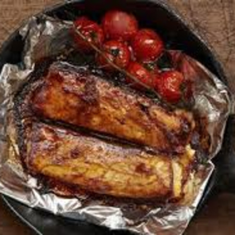 Barbecued Salmon Belly With Roasted Cherry Vine Tomatoes