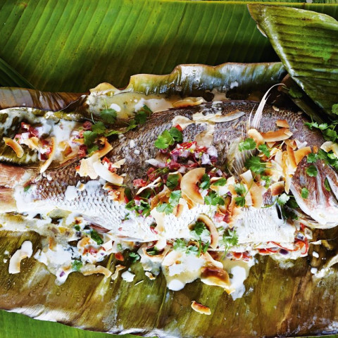 Barbecued whole snapper with coconut miti sauce