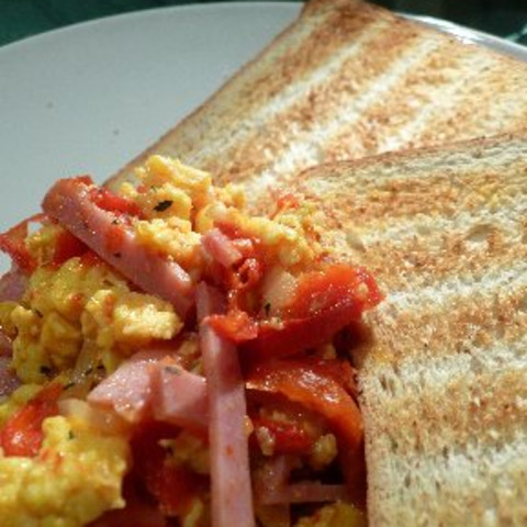 Basque Eggs With Ham, Tomatoes And Peppers