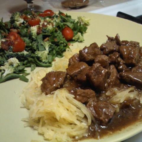 Beef Tips in Gravy over Spaghetti Squash