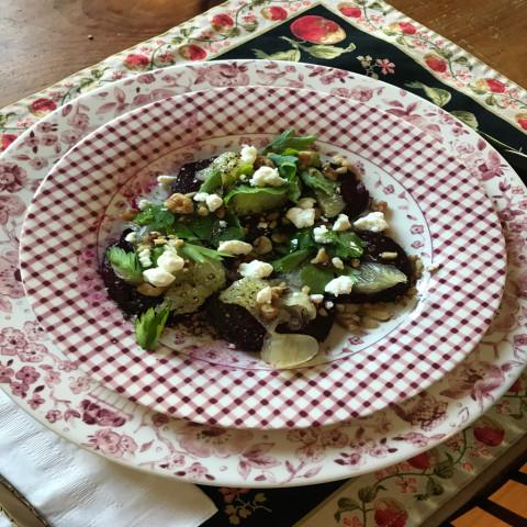 Beet, lemon, and walnut salad