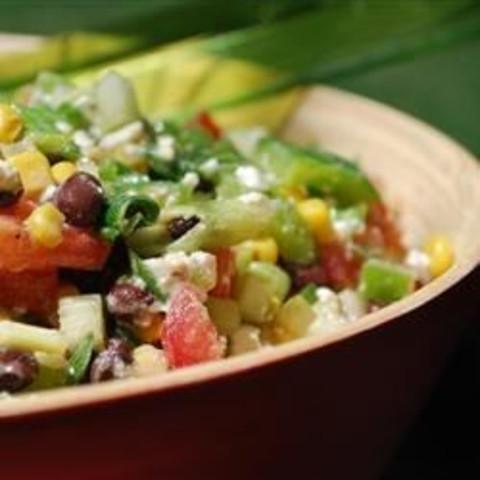 Black Bean, Corn, and Tomato Salad with Feta Cheese
