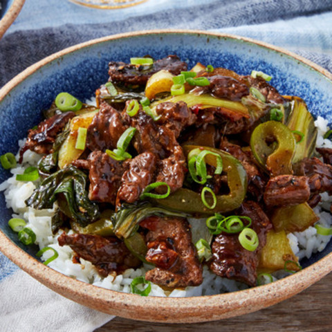 Black Pepper Beef with Bok Choy & Garlic Rice