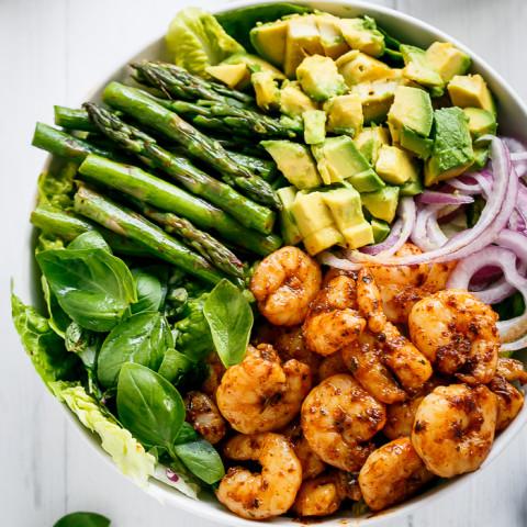 Blackened Shrimp, Asparagus and Avocado Salad with Lemon Pepper Yogurt Dres