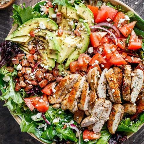 BLT Balsamic Chicken Avocado & Feta Salad