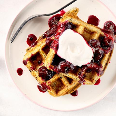 Blueberry-Oat Waffles