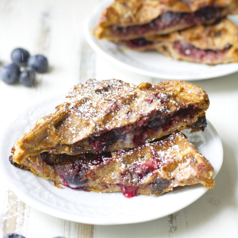 Blueberry Cheesecake Stuffed French Toast Waffles