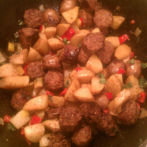 Bratwurst Potato Skillet Dinner with Teriyaki & Orange Sauce