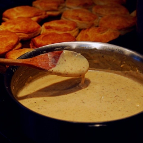 Breakfast-Style Sausage Gravy and Biscuits