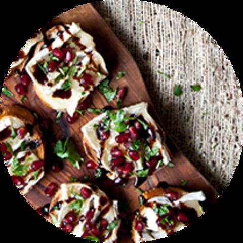Brie and Pomegranate Crostini