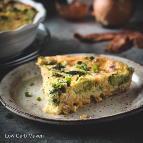 Broccoli Cheddar Quiche With Bacon