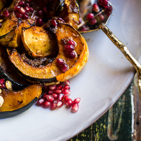 Brown Sugar and Pineapple Roasted Acorn Squash with Spiced Brown Butter