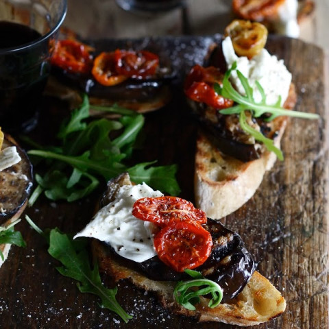 Bruschetta with Grilled Eggplant, Tomatoes, and Burrata